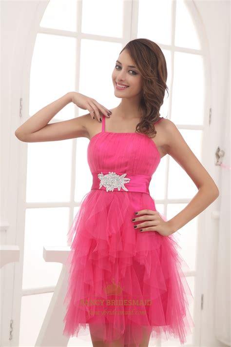 Hot Pink Short Bridesmaid Dress Short Spaghetti Strap