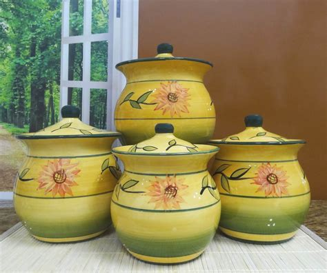 sunflower canisters for kitchen sunflower garden collection handcrafted 4