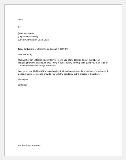 notification letter  quit job word excel templates