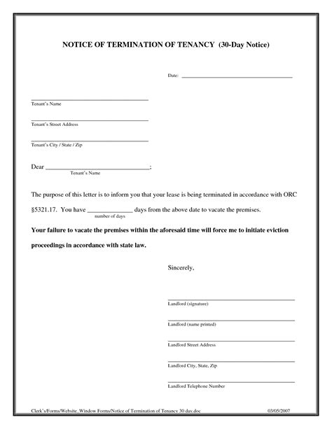 Renters 30 Day Notice Template by 30 Day Notice Template Tristarhomecareinc