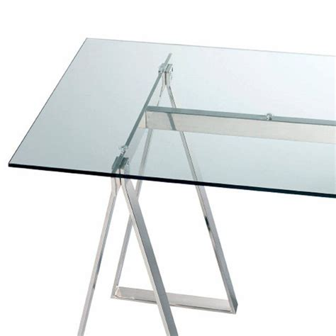 plateau de bureau en verre les 2 tréteaux en acier chromé xenon à combiner avec le