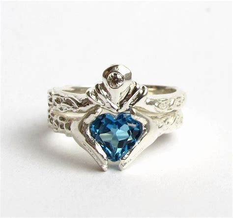 claddagh wedding white gold and diamond blue topaz or garnet engagement ring and
