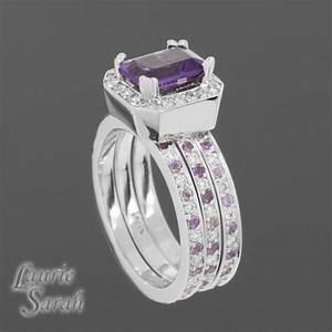 3 ring amethyst wedding set emerald cut amethyst with With amethyst wedding ring set