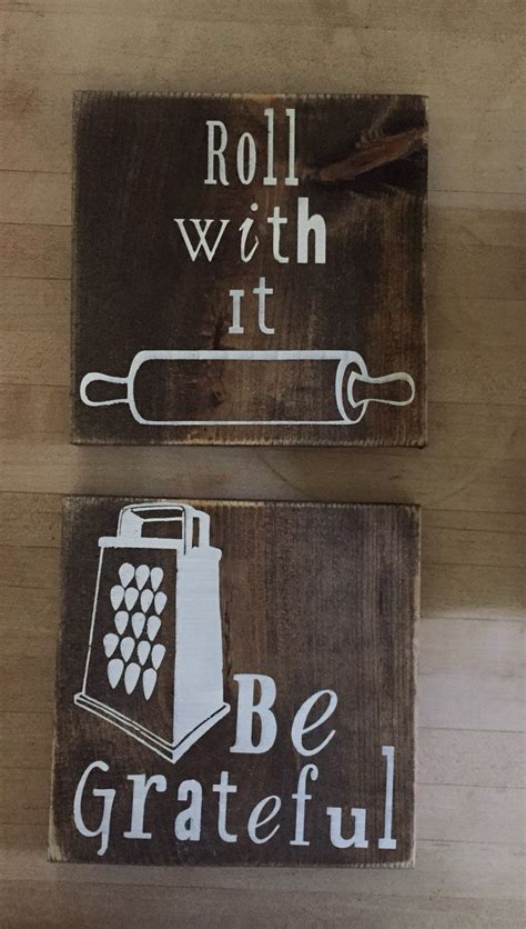 wooden kitchen sign kitchen decor be grateful roll with - Kitchen Wood Signs Decor