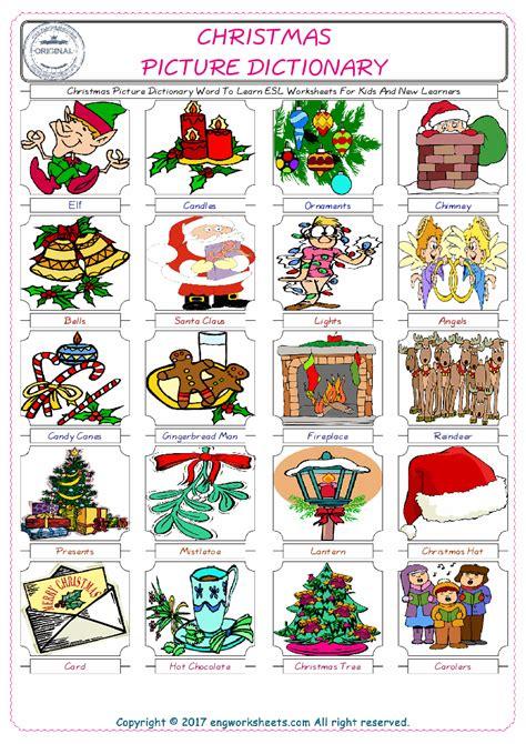christmas esl printable english vocabulary worksheets