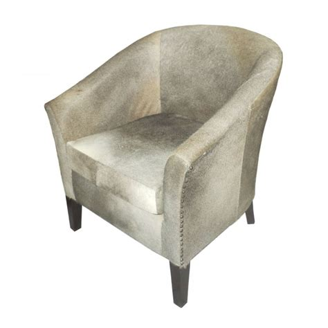 Cowhide Furniture Uk by Cowhide Leather Tub Chair Grey Blackbrook Interiors
