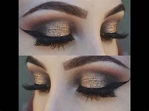 Gold and Black Smokey Eye Makeup Tutorial | Glittery ...