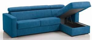 Canapé Bleu Convertible : canap d 39 angle convertible avec t ti res rev tement microfibre bleu azur lova mod le 3 places ~ Teatrodelosmanantiales.com Idées de Décoration