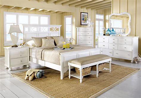 cindy crawford home seaside white panel  pc queen bedroom