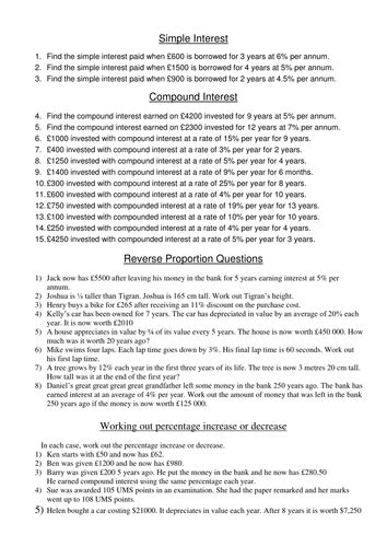 worksheet to practise simple and compound interest and reverse proportion by silvestertim