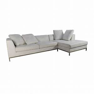 82 off white leather sectional couch sofas for Buy leather sectional sofa bed