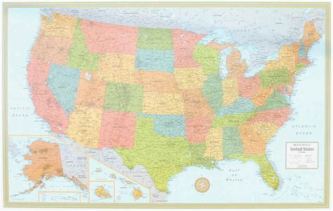themapstore rand mcnally usa wall map blue