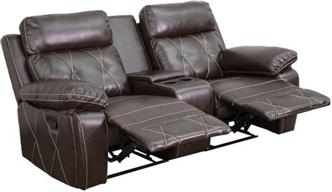 theatre with reclining seats reel comfort series 2 seat reclining brown leather theater