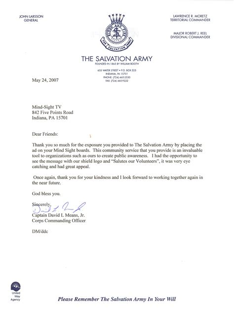 Letter Of Recommendation From The Salvation Army Mindsight Llc Community B B Thank You Notes