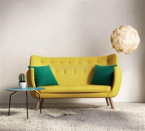 yellow sofa  fresh interior living room stock image