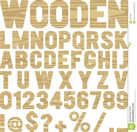 wooden font stock vector image 47954689