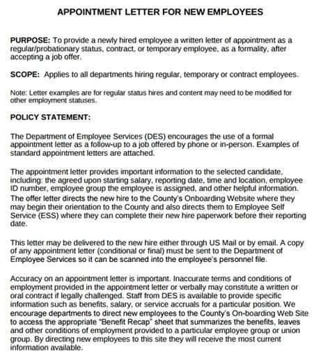examples  job appointment letter   employees