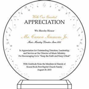 Certificate Of Recognition Examples Music Ministry Appreciation Plaque Diy Awards