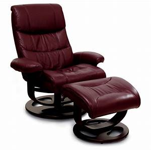 Furniture Dark Modern Leather Recliner With Slim Recliner