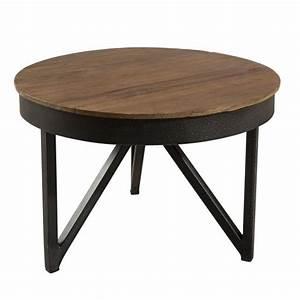 Table Basse D Appoint : table basse d 39 appoint ronde en teck recycl et m tal noir d50xh35cm swing ~ Teatrodelosmanantiales.com Idées de Décoration