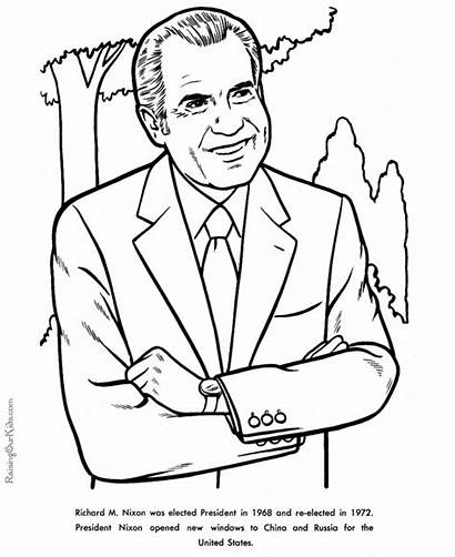 Coloring Nixon Richard Pages Facts President Presidents