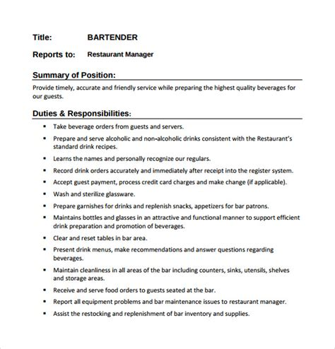 Bartender Description For Resume sle bartender resume template 8 free