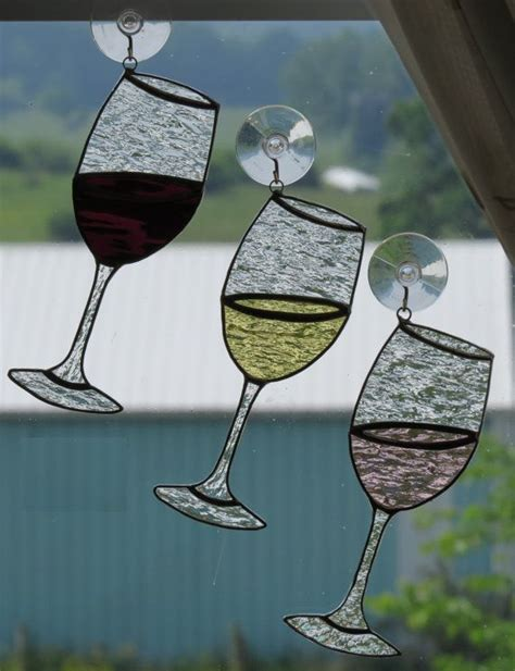 Kaboodle Wine Glasses by Handmade Wine Glass Suncatcher Stained Glass So