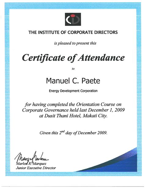 certificate of attendance seminar template the energy development corporation sec pse reports on corporate governance