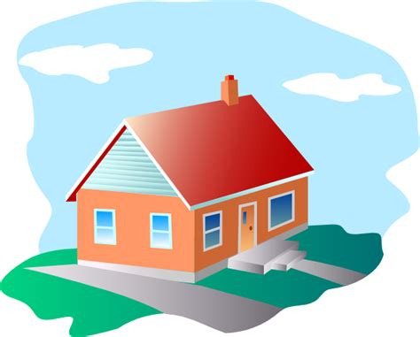 Cartoon House With Blue Sky Clip Art At Clker.com