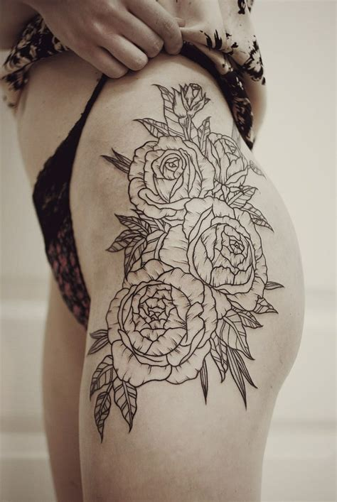 floral hipthigh piece tattoos pinterest girls
