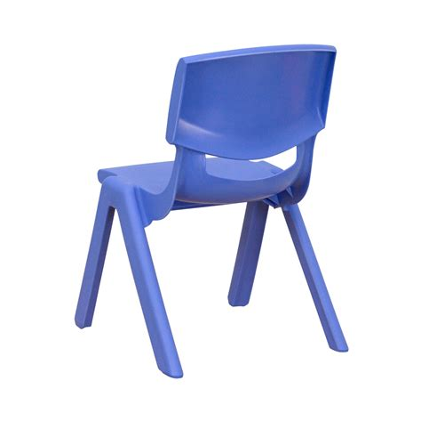 blue plastic stackable school chair with 10 5 inch seat