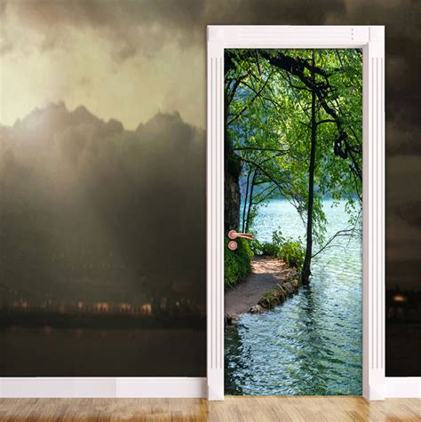 lakeside path door contact paper wall sticker