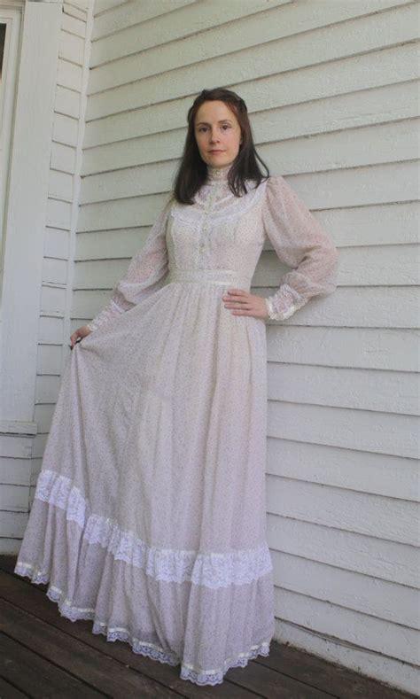 Gunne Sax Floral Western Dress Lavender Prairie Country ...