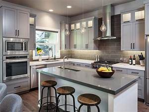 gorgeous gray kitchen 2014 hgtv With kitchen colors with white cabinets with custom oval stickers