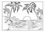 Coloring Landscape Adult Nature Printable Surfboard Sunset Adults Colouring Sheets Scenery Florida Visit K5worksheets sketch template
