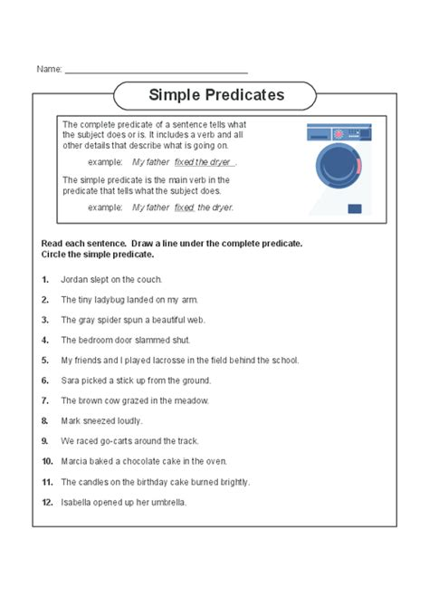complete and simple predicate worksheets for 4th grade
