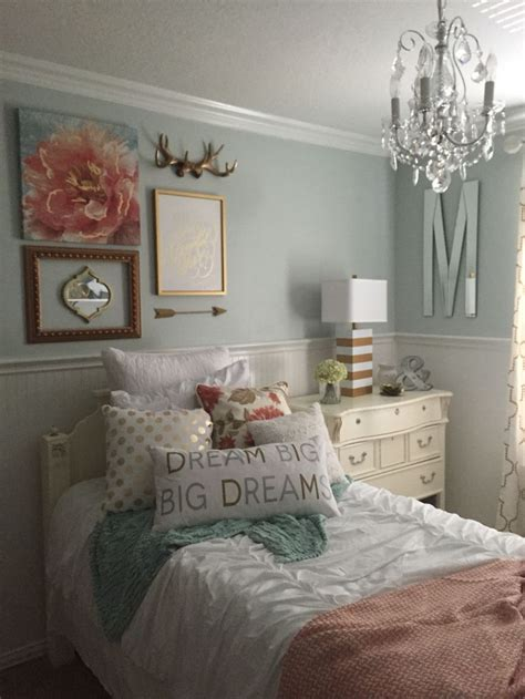 girls bedroom mint coral blush white metallic gold