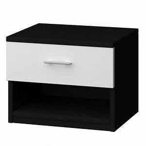 Table De Chevet Blanc Et Bois : table de chevet noir et blanc ~ Teatrodelosmanantiales.com Idées de Décoration