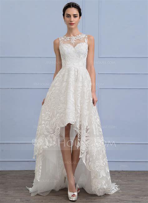 A Lineprincess Scoop Neck Asymmetrical Lace Wedding Dress