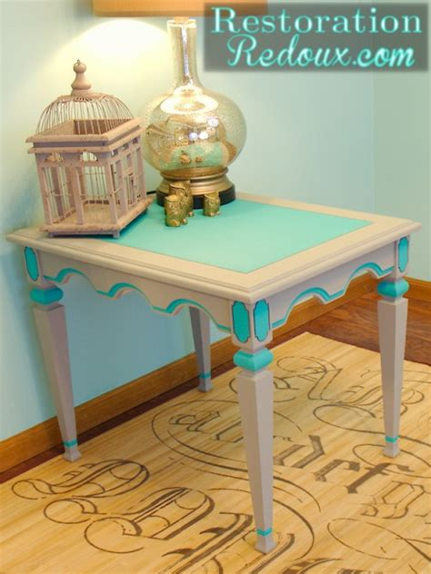 turquoise side table grey and turquoise side table 2971