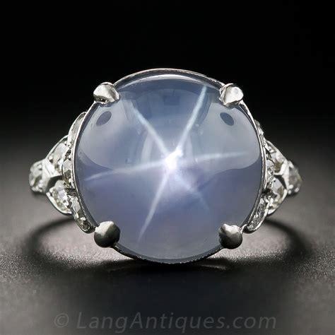 art deco star sapphire platinum  diamond ring