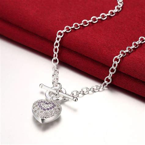 aliexpress com beli mode 925 perak jantung liontin kalung dengan cz batu charm austria