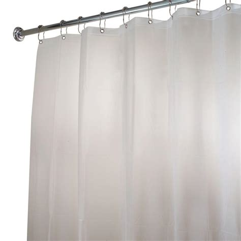 clear shower curtain interdesign eva extra wide shower curtain liner in clear frost 15362 the home depot