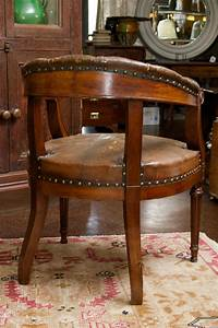 Tufted Leather And Mahogany Barrel Back Library Chair
