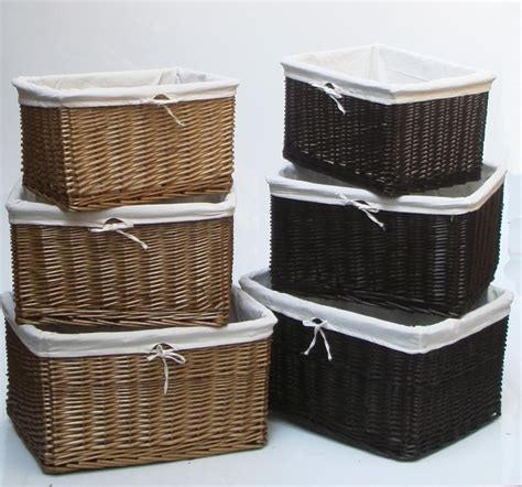 wicker kitchen storage baskets oak brown x large wider big wicker storage kitchen 1521