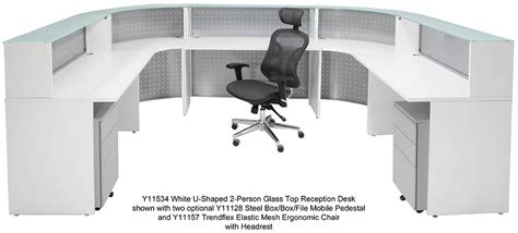 white two person desk white u shaped 2 person glass top reception desk