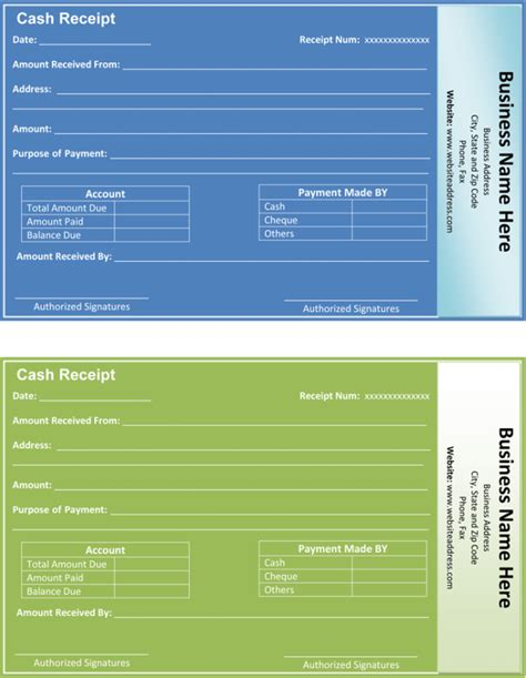 payment receipt templates word excel