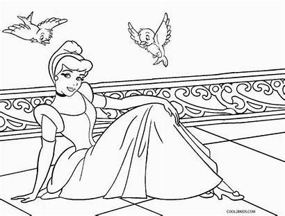 Cinderella Coloring Disney Pages Princess Princesses Pdf