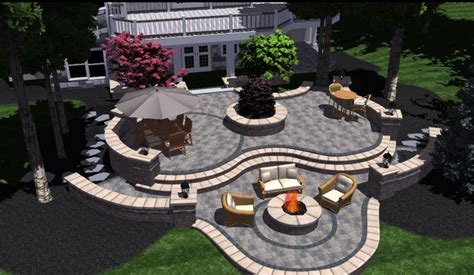 tiered 3d brick patio with landscape design in bloomfield