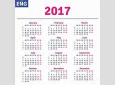 İngilizce takvim 2017 — Stok Vektör © rustamank #101040000